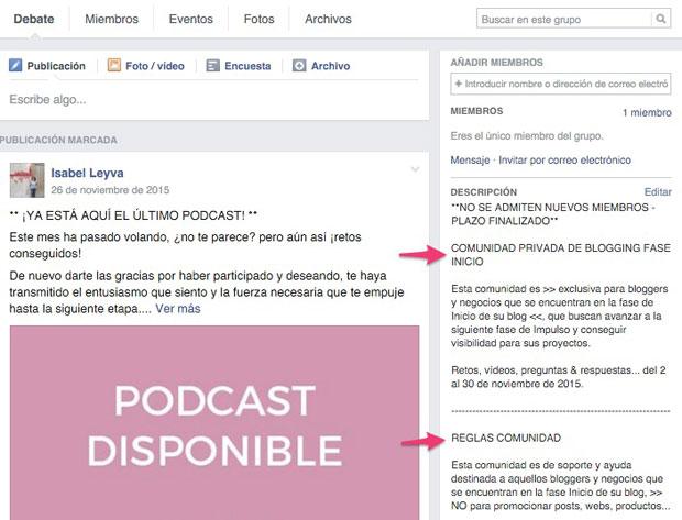 descripcion y normas grupo facebook